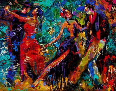 "Contemporary Figurative Art, Fine Art Oil Painting, Tango, ""Dancers"" by Texas Artist Debra Hurd"