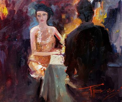 """""""Paris Cafe"""" original oil painting by Robin Weiss"""