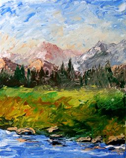 Mark Webster - Mountain River Abstract Palette Knife Acrylic Painting