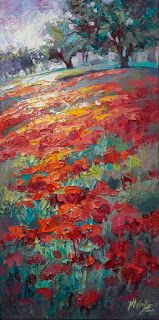 """""""Pops of Red"""" Textured Poppy Painting by Contemporary Impressionist Niki Gulley"""