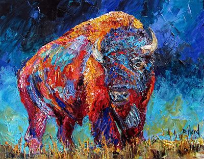 "Bison Painting, Buffalo, Contemporary Wildlife, Palette Knife Oil Painting ""Bison Plains"" by Texas Artist Debra Hurd"