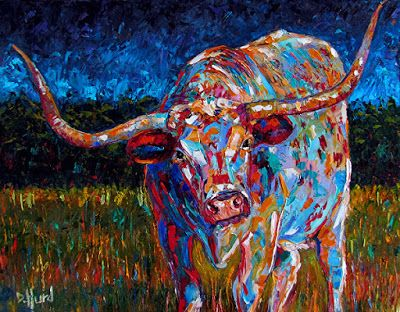 "Texas Longhorn Painting Art Cattle Paintings Texture Fine Art ""Before The Storm"" by Texas Artist Debra Hurd"
