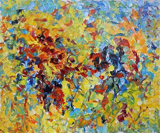 """Floral Palette Knife Painting """"Color Symphony"""" by Judith Babcock Colorado Artist"""