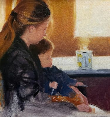 """""""Makayla and Emmy at the Poulsbohemian"""" original portrait painting by Robin Weiss"""