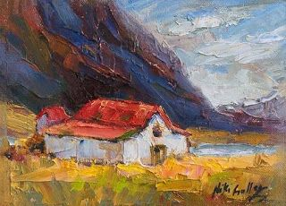 New Mini Barn Painting from Iceland by Palette Knife Artist Niki Gulley