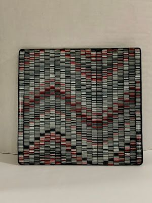 """Glass Sculpture, Glass Tray, Glass Art, Contemporary Art, """"WAVES OF RED, BLACK, AND GRAY"""" by Florida Contemporary Artist Mary Ann Ziegler"""
