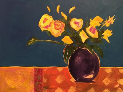 """Contemporary Expressionist Still Life Fine Art Painting """"FOR ALL SEASONS"""" by Oklahoma Artist Nancy Junkin"""