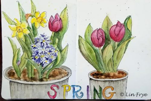 Sketchbook Journal - Easter Flowers