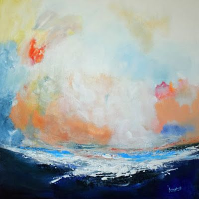 """Original Contemporary Landscape, Seascape Painting, """"Music of The Sea"""" by International Contemporary Abstract Artist Arrachme"""
