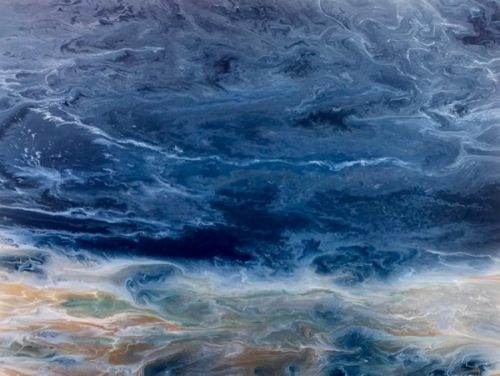 """Contemporary Seascape, Abstract Seascape, Beach Art, Ocean Waves,Coastal Living Decor, Fine Art, """"Stormy Waters"""" Electric Storm Series, by International Contemporary Artist Kimberly Conrad"""