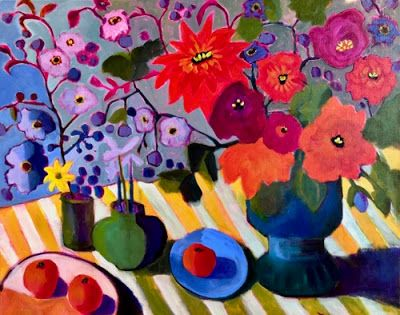"Contemporary Expressionist Still Life Art,Bold Expressive Painting ""Wildflower Table"" by Santa Fe Artist Annie O'Brien Gonzales"