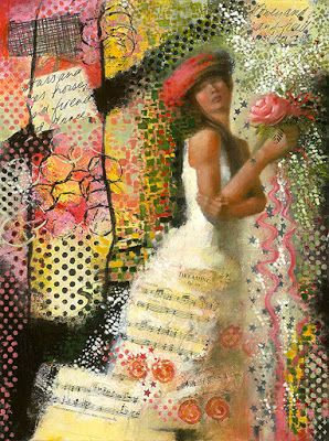 "Contemporary Figurative Painting,Bride, ""Wedding Confetti"" by Illinois Artist Marilyn Weisberg"