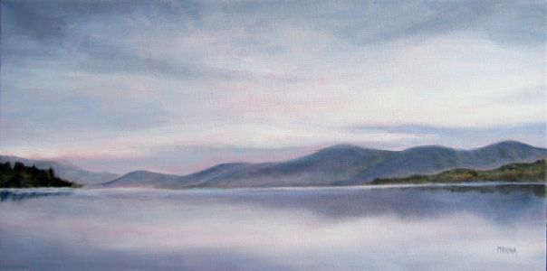 EARLY MORNING ON LAKE GEORGE-Original Oil Painting by Marina Petro