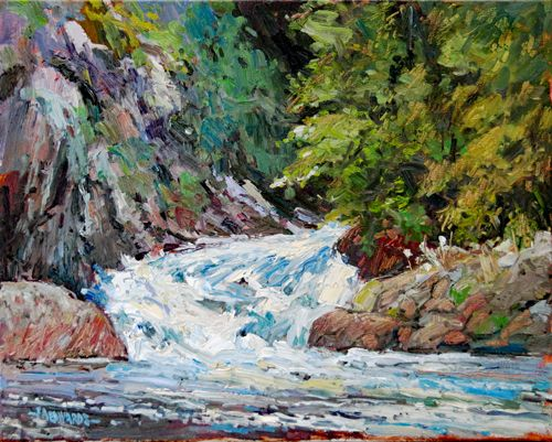 """Little Falls In Spring 16"""" x 20"""" Oil / Canvas"""