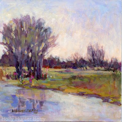 """Small Paintings, Colorful Contemporary Landscape Painting,Trees, Water Daily Painter, """"Mid Season"""" by Passionate Purposeful Painter Holly Hunter Berry"""