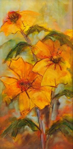 """Still Life Floral Painting, Fine Art Oil Painting, Yellow Flower """"Friendly Sunflowers"""" by Colorado Contemporary Fine Artist Jody Ahrens"""