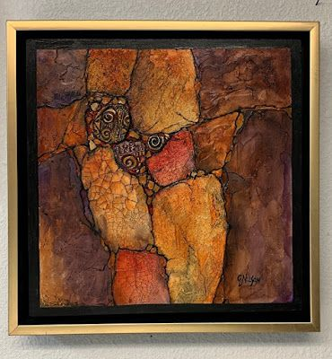 """Geologic Abstract, Contemporary Painting, """"Canyon Artifacts"""" © Carol Nelson Fine Art"""