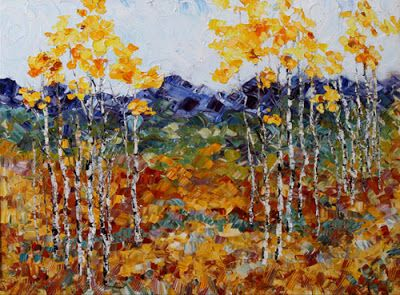 "Original Palette Knife Aspen Landscape Painting ""Fall Symphony"" by Colorado Impressionist Judith Babcock"