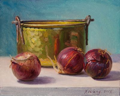 Onions with a copper bucket still life oil painting original daily painting a painting a day