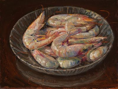 Shrimps in a glass bowl, still life oil painting original daily painting a day