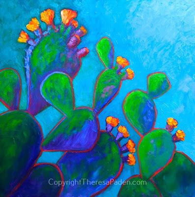 Colorful Desert Cactus Art by Theresa Paden