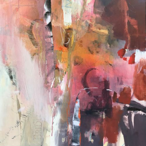 "Contemporary Abstract Art Painting ""GETTING WARMER"" by Intuitive Artist Joan Fullerton"