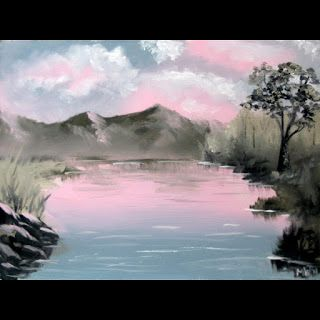Mark Webster - Red Skies 1 - Mountain Lake Landscape Oil Painting