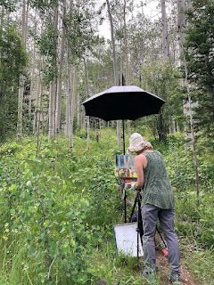 Contemporary Impressionist Niki Gulley Painting Aspen Trees in Santa Fe, NM