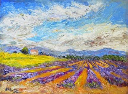 """Diagonal Patterns"" Palette Knife Lavender Field Painting by Niki Gulley"