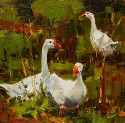 """""""Goose Trio"""" plein air painting by Robin Weiss"""