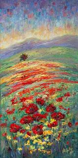 """Pop of Color II"" Palette Knife Poppy Painting by Niki Gulley"