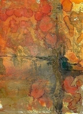 "Original Alcohol Ink Contemporary Abstract Painting ""LAKE IN THE WOODS"" by Richmond Artist Lou Jordan"