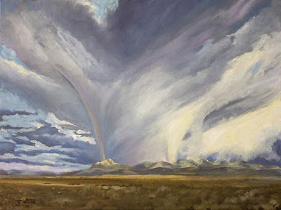 """Western Landscape Painting, Mountains, Stormy Sky, """"VALKYRIE"""" Artist Nancee Jean Busse, Painter of the American West"""