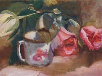 """Still Life Painting, Pink Roses, Tea Cup, Fine Art Oil Painting """"Rose Tea"""" by California Artist Cecelia Catherine Rappaport"""