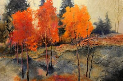 "SUMMER SALE-Textured mixed media landscape, ""Autumn Trio"" by Mixed Media Artist Carol Nelson Fine Art"