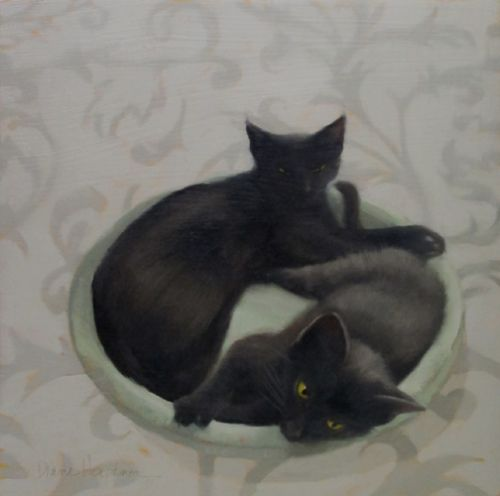 Two of a Kind II, painting of black cats and Ron