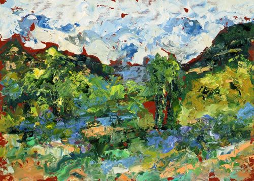 "Palette Knife Aspen Landscape Painting ""Landscape Poetry"" by Colorado Impressionist Judith Babcock"