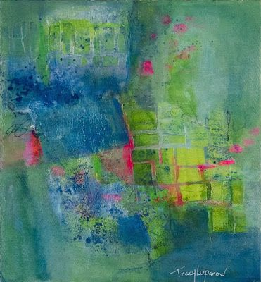 """Mixed Media Art, Abstract Painting, Contemporary Art for Sale, """"Stepping Stones"""" by Contemporary Artist Tracy Lupanow"""
