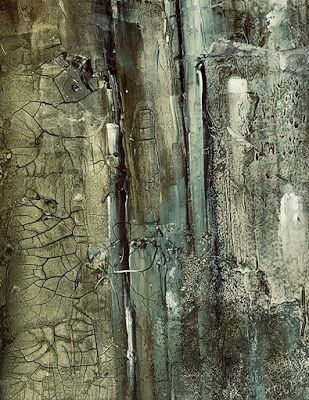 "Green Art, Abstract Painting, Mixed Media Contemporary Art ""THE GROWING WALL"" by Florida Artist Mary Ann Ziegler"