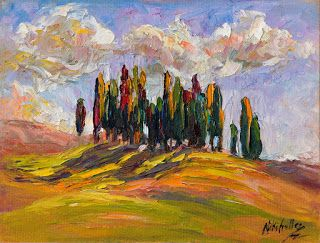 """New """"Rolling Shadows,"""" Tuscany Palette Knife Oil Painting by Niki Gulley"""