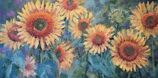 Contemporary Impressionistic Floral Sunflower Palette Knife Original Oil Painting by Sheri Jones
