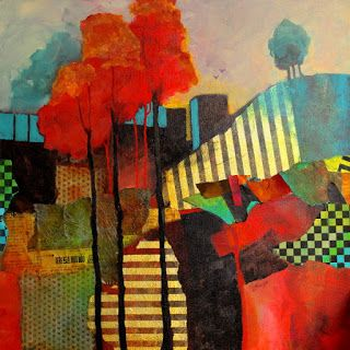 """Mixed media abstract landscape, """"My Happy Place"""" © Carol Nelson Fine Art"""