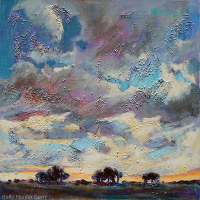 "Contemporary Colorful Landscape Painting ,Mixed Media, Fine Art For Sale, ""Then The Clouds Rolled In"" By Passionate Purposeful Painter Holly Hunter Berry"