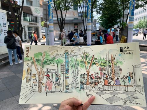 Sketches Myeong-dong Station Gate 3, Seoul