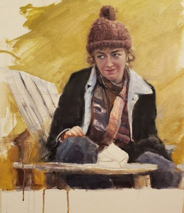 """""""Ruthie at the Poulsbohemian"""" original portrait painting by Robin Weiss"""
