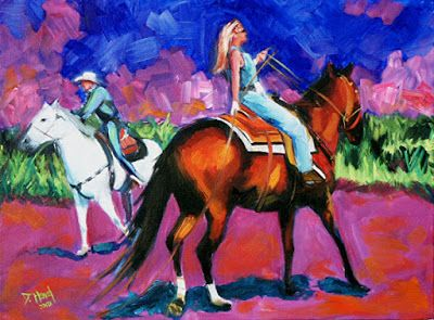 "Contemporary Art, Western, Equine, Figurative Fine Art, Horse and Rider, Cowboy, Cowgirl,""Rodeo 3"