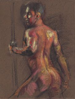 Standing male nude in contraposto drawing