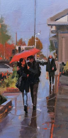 """""""Winslow in the Rain"""" original oil painting by Robin Weiss"""