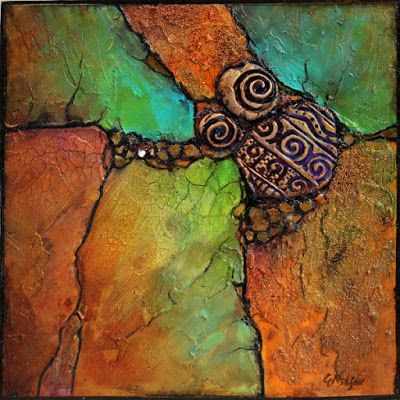"Mixed Media Geologic Abstract Painting, ""Sweet Discovery"", © Carol Nelson Fine Art"