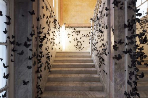 15,000 Black Paper Butterflies Swarm the Fondazione Adolfo Pini for Carlos Amorales's Latest Installation of 'Black Cloud'